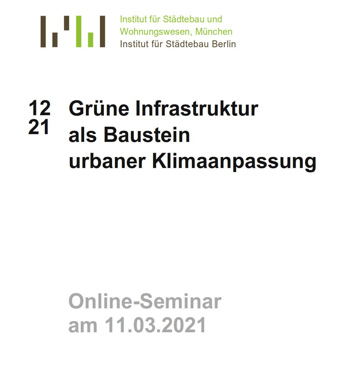 Grüne Infrastruktur als Baustein urbaner Klimaanpassung - Titel lang