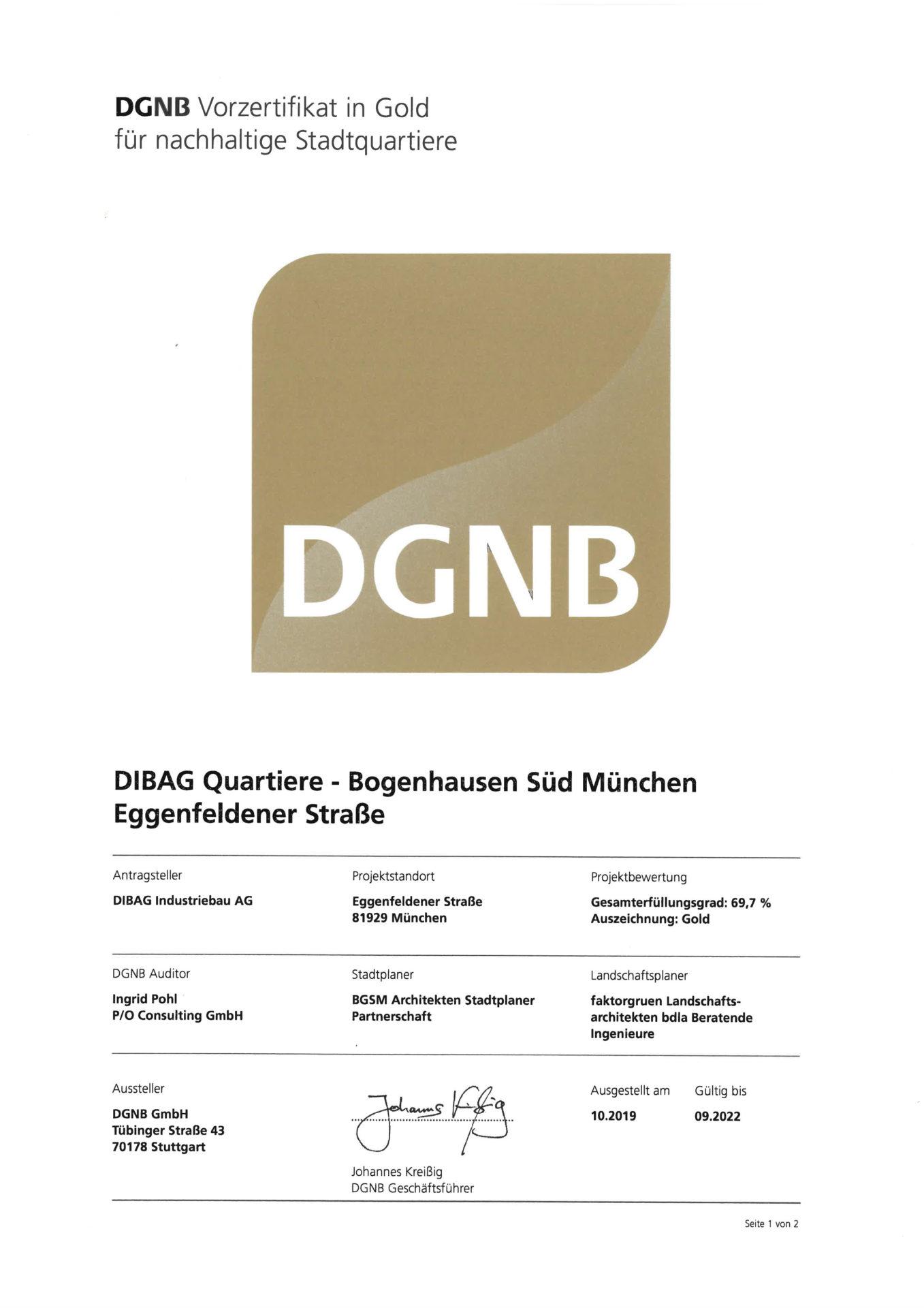 DGNB Zerifikat München, Eggenfeldener Straße