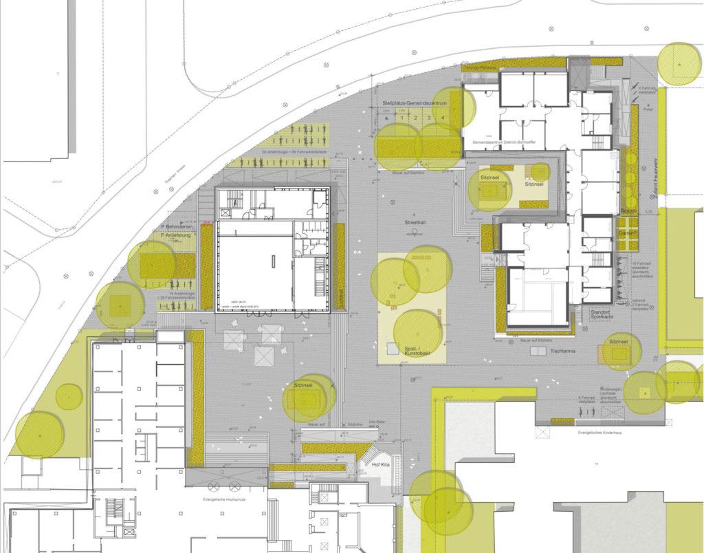 Freiburg, Dietrich-Boenhoeffer-Platz/ Ev. Hochschule -Plan
