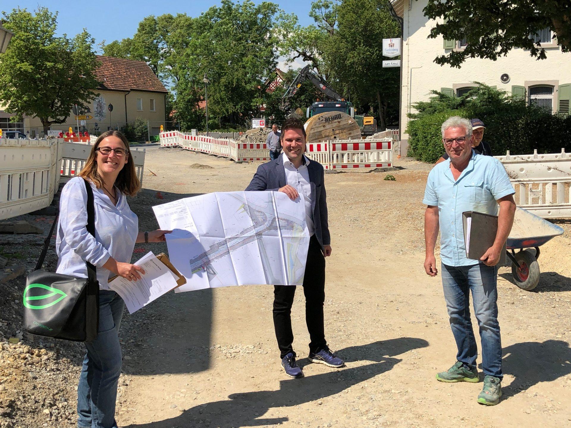 Hilzingen, Ortsmitte - Baustellenbesichtigung