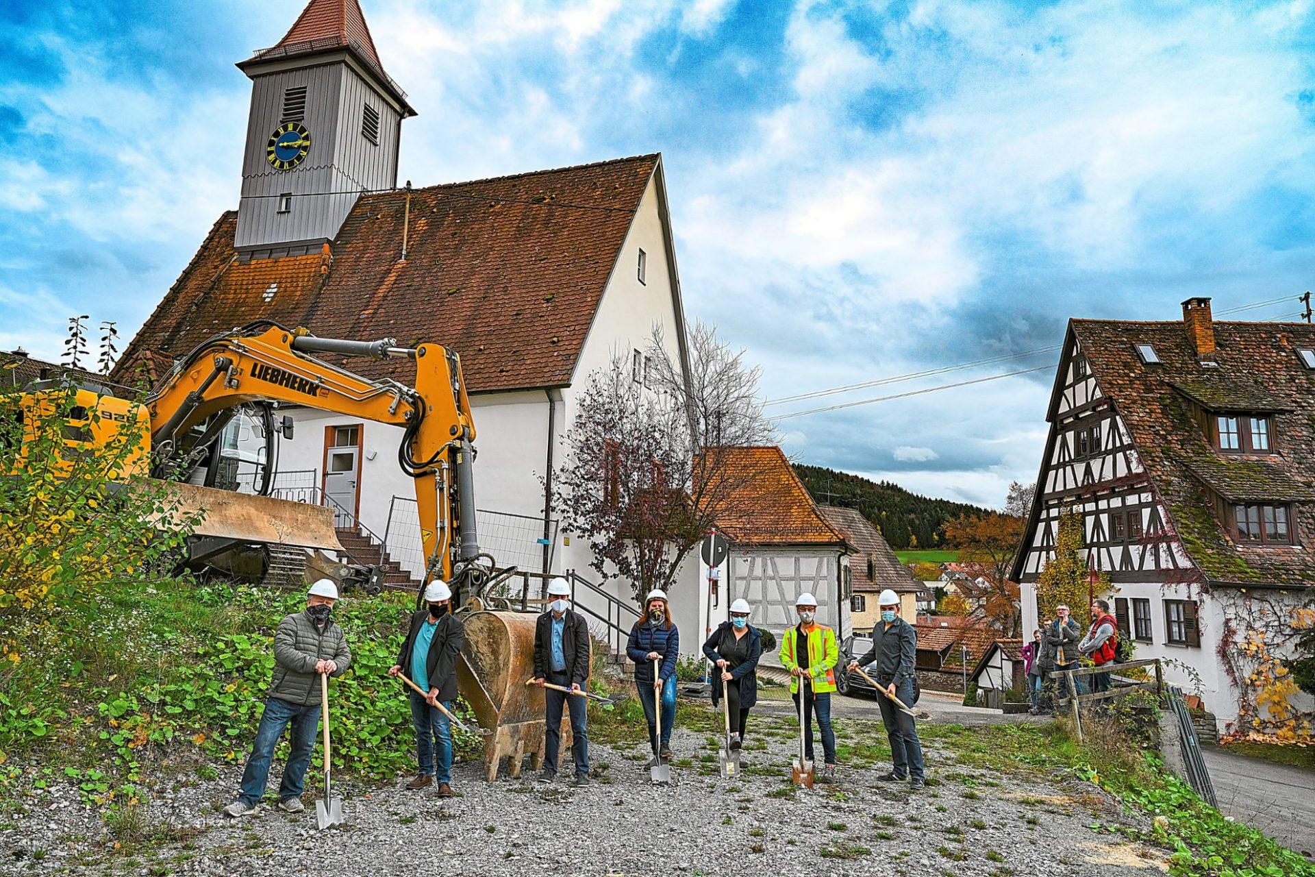 Nagold, Dorfplatz Emmingen - Spatenstich