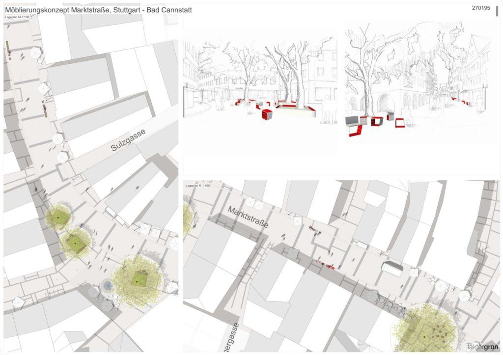 Stuttgart, Möblierungskonzept Marktstraße Bad Cannstatt - Pläne